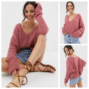 NWT-FP Slouchy Rose Moonbeam Alpaca V-Neck Sweater